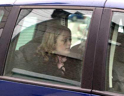 Sabine Dardenne arrives at the courthouse in Arlon, Belgium, to testify during the Dutroux trial.