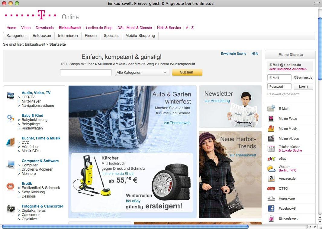 Screenshot / T-Online / Einkaufswelt