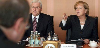Koalitionspolitiker Steinmeier und Merkel: Milliardenhilfe für die Banken