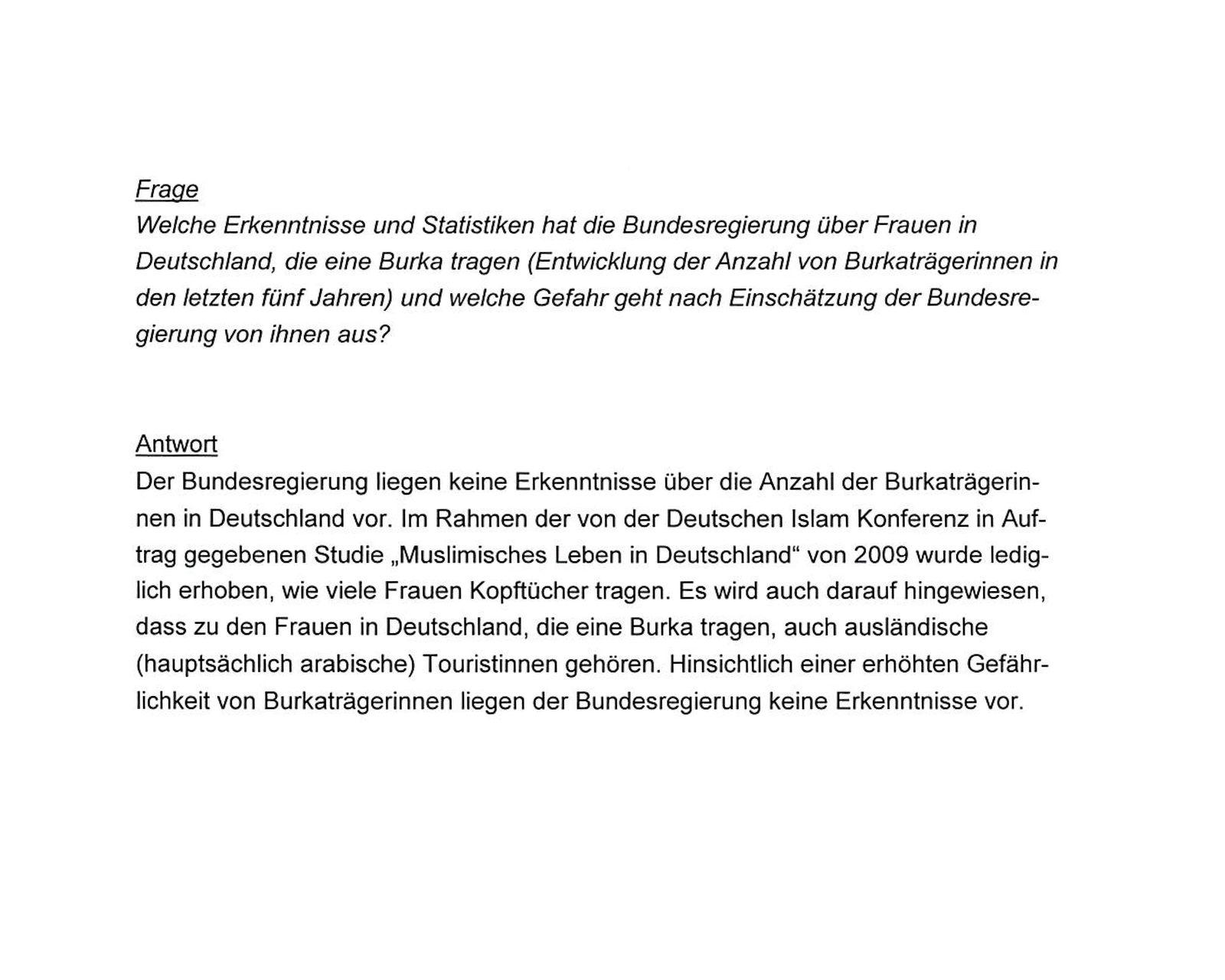 EINMALIGE VERWENDUNG Anfrage Mutlu Krings/ Burka