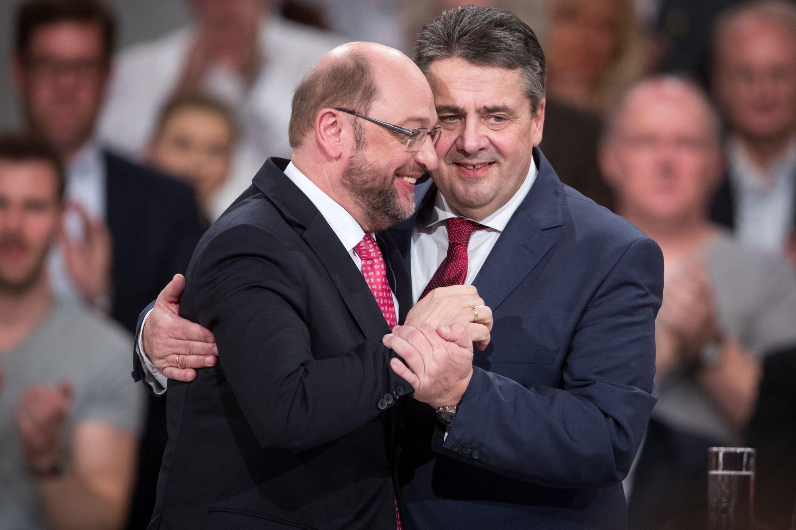 SPD-Bundesparteitag/ Schulz / Gabriel / Aufstieg Fall