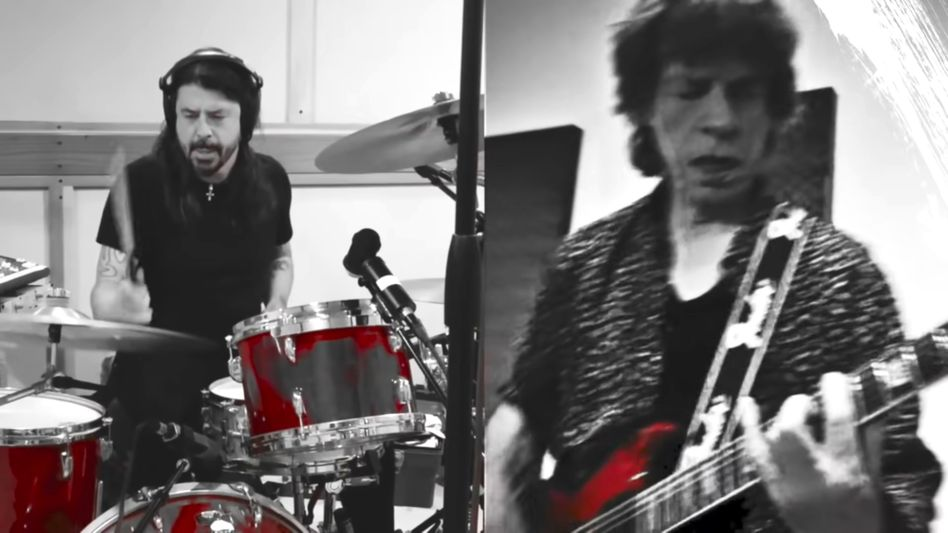 Dave Grohl und Mick Jagger im »Eazy Sleazy«-Musikvideo: »Trying to write a tune / you better hook me up to Zoom«