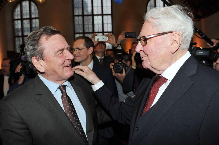 Ex-Parteichefs Schröder, Hans-Jochen Vogel im Jahr 2016