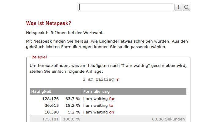 Suchmaschine Netspeak: Welches Wort gehört in die Lücke?