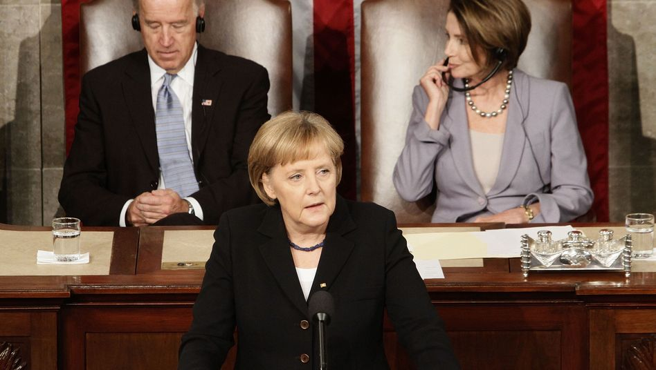 "German Chancellor Angela Merkel speaking before the US Congress on Tuesday: ""We Germans know how much we owe to you, our American friends."""