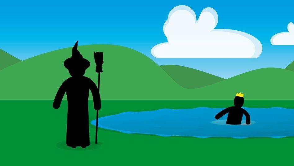 Gefangen im See? Die Hexe läuft viermal schneller, als die Prinzessin schwimmt
