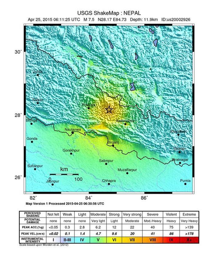 Karte des US Geological Survey: Epizentrum nordwestlich von Kathmandu