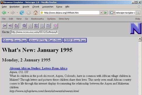 Ewiges Leben: So wie es der Netscape-Emulator zeigt, sah das Internet 1995 mit Netscape 1.0 aus