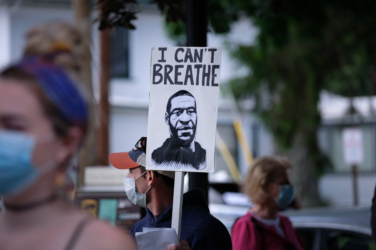 May 31, 2020, Milford, Pennsylvania, United States: George Floyd, I can t breath placard during a vigil for George Floy