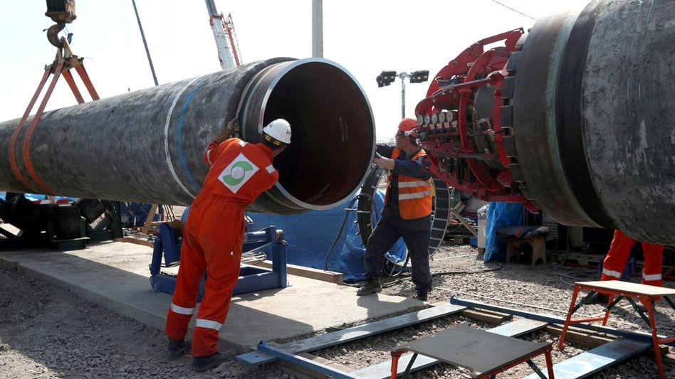 Baustelle von Nord Stream 2 in Russland