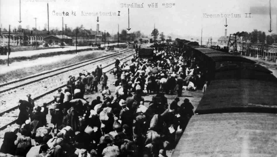Ein Häftlingstransport trifft im Lager Auschwitz ein (undatierte Aufnahme)