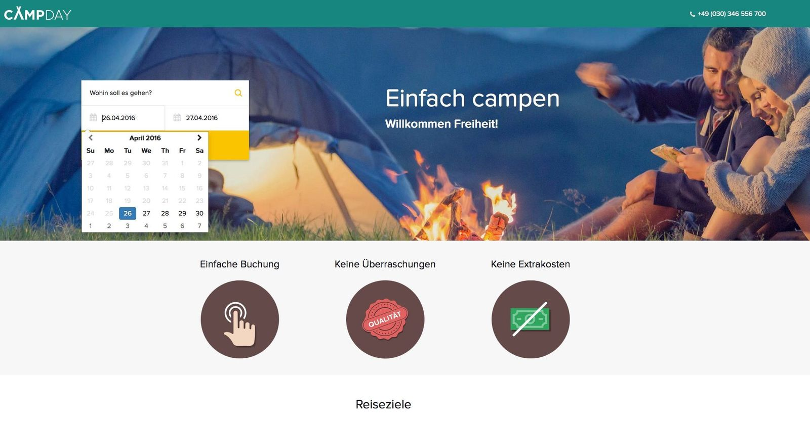 EINMALIGE VERWENDUNG Camping-Portale