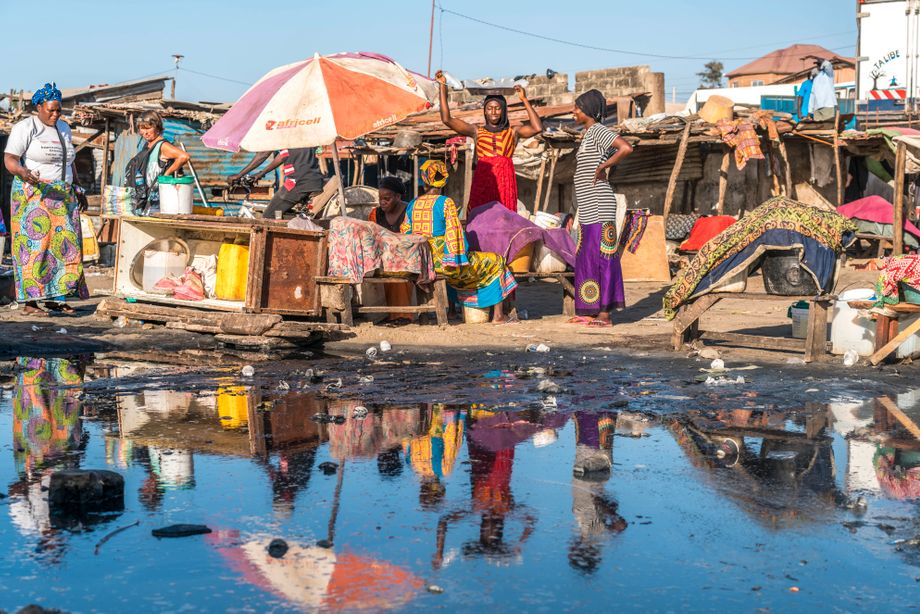 Traditioneller Fischmarkt in Gambia: Während Bonga-Fisch vor zwei Jahrzehnten laut Anwohnern so reichlich vorhanden war, dass er auf manchen Märkten verschenkt wurde, kostet er jetzt mehr, als sich die meisten Einheimischen leisten können