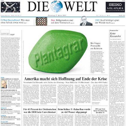 """""""Welt""""-Titelseite mit Plantagrar-Fotomontage: Höhepunkt einer bizarren Geschichte"""