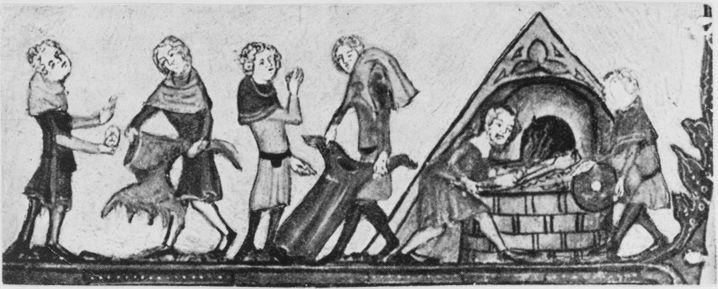 """Darstellung des """"Schwarzen Todes"""" (um 1350): Verbrennung von Kleidung - an der Pestwelle starben damals rund 25 Millionen Europäer, etwa ein Drittel der damaligen Bevölkerung"""