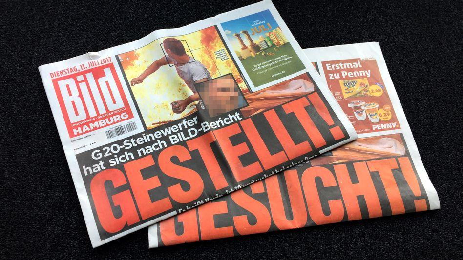 """""""Bild""""-Zeitung, 10. und 11.07.2017 (Pixelung durch SPIEGEL ONLINE)"""