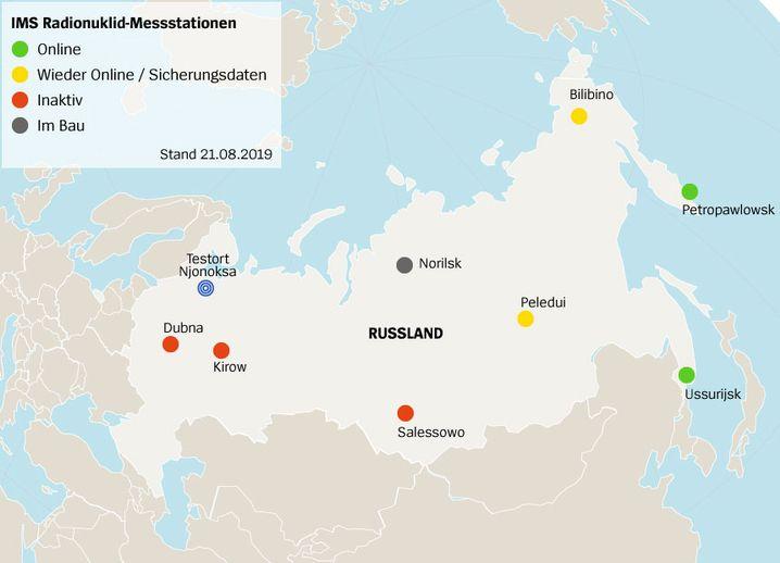 IMS Radionuklid-Messstationen in Russland