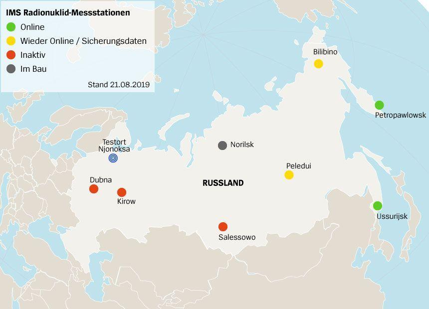 Karte IMS Radionuklid-Messstationen in Russland