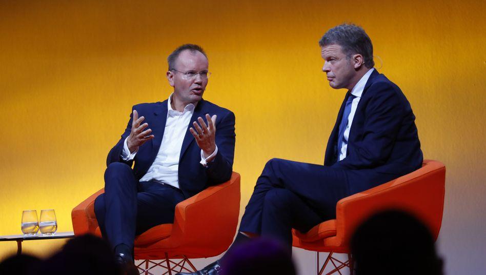 Damaliger Wirecard-Chef Braun, Deutsche-Bank-Boss Sewing im September 2019