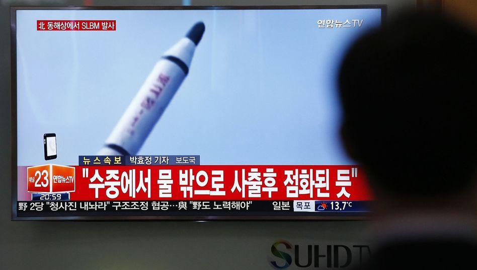 Fernsehbericht in Südkorea über angeblichen Raketenstart