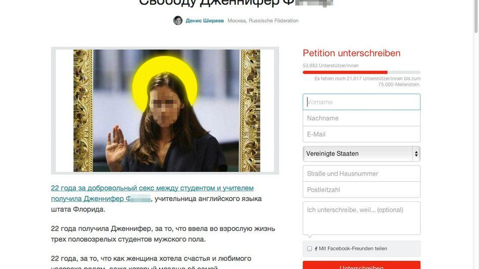 """Online-Petition: """"Sie hat den Jungs doch geholfen"""""""