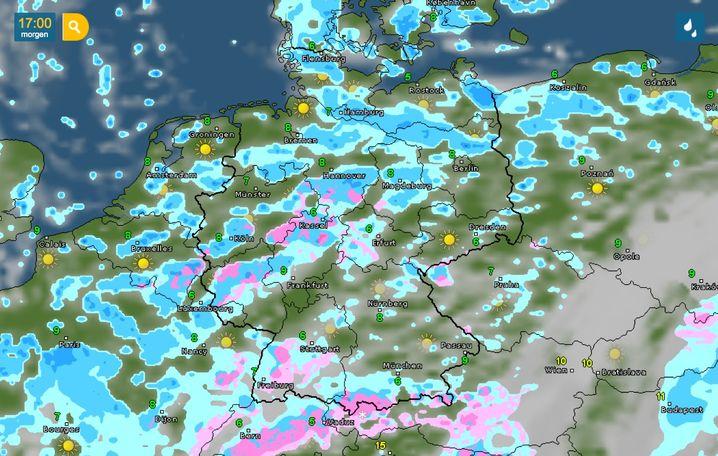 Vorhersage für Sonntag von Wetteronline: Schauerbewölkung