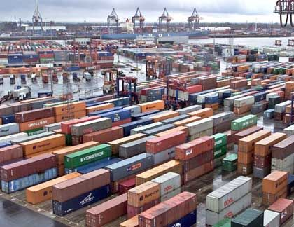 Trade boom: containers in Hamburg port.