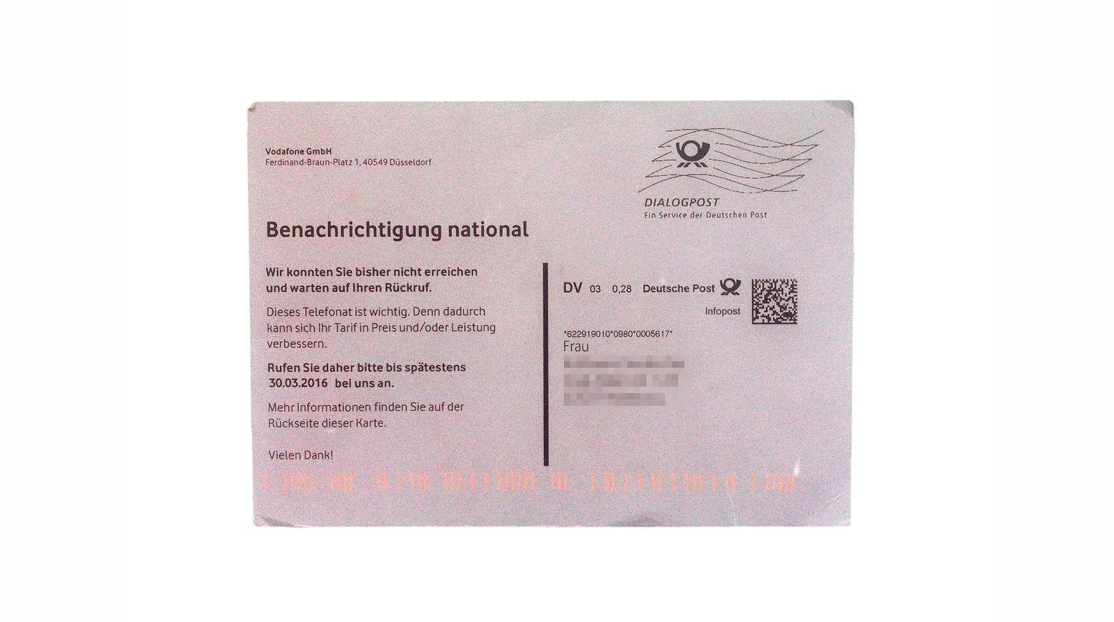 EINMALIGE VERWENDUNG Benachrichtigungskarte/ Vodafone