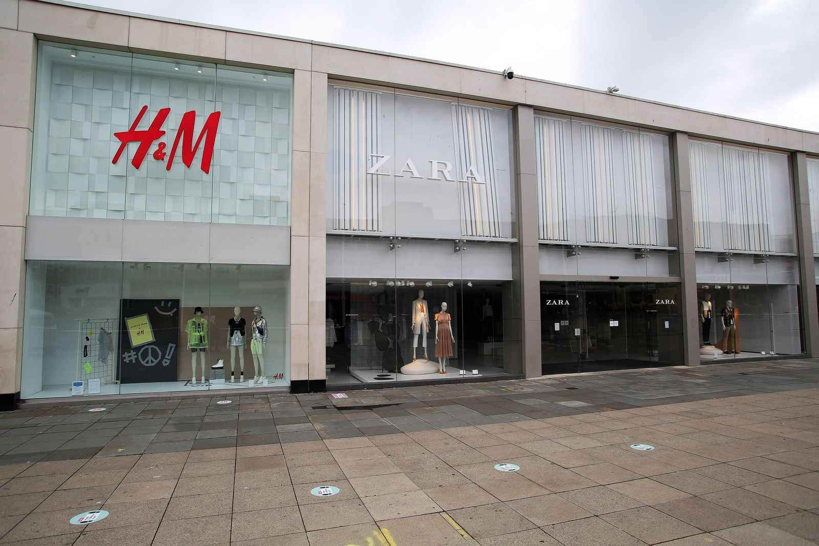 Coronavirus - Fri Jun 12, 2020 A general view of H&M and Zara shops as they prepare to reopen on Monday 15th June, follo