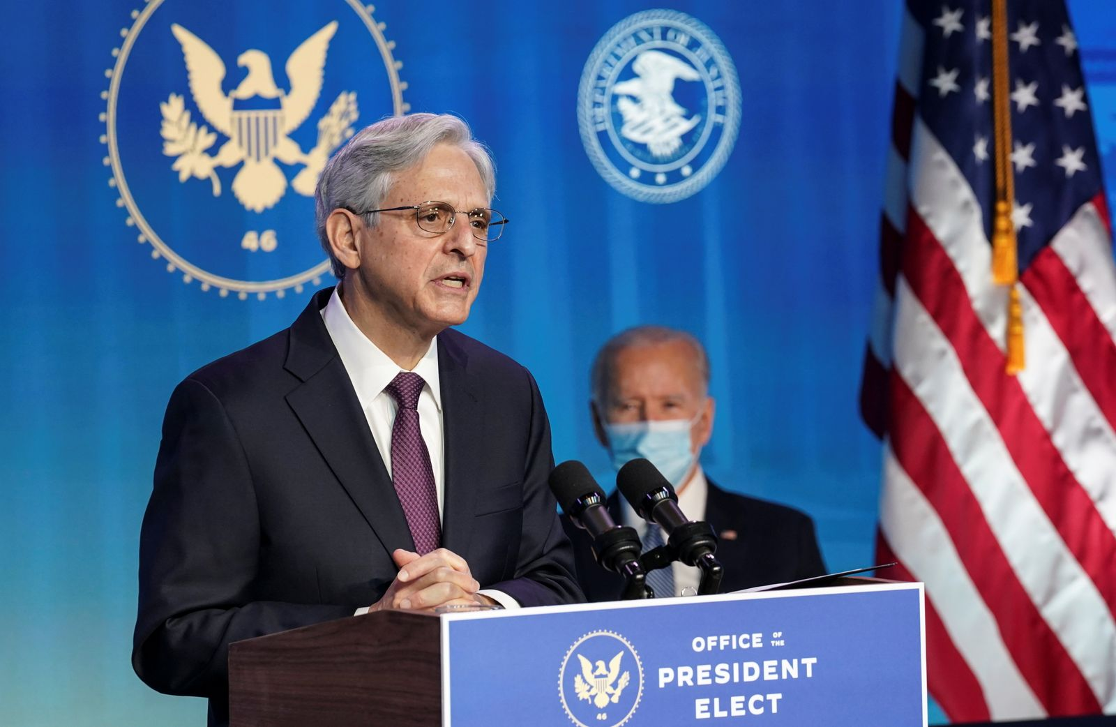U.S. President-elect Joe Biden announces Justice Department nominees at his transition headquarters in Wilmington, Delaware
