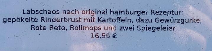 Aus der Speisekarte eines Restaurants auf Amrum