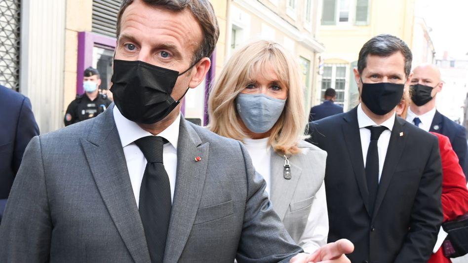 Frankreichs Staatspräsident Emmanuel Macron bei seinem Besuch in Valence am Dienstag