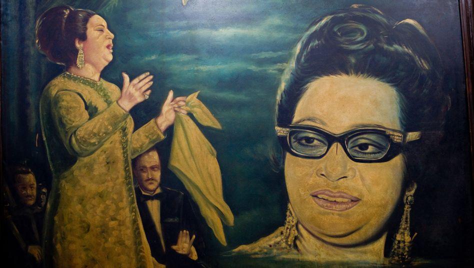 """Gemälde der Sängerin Um Kulthum, Spitzname """"Stern des Orients"""""""