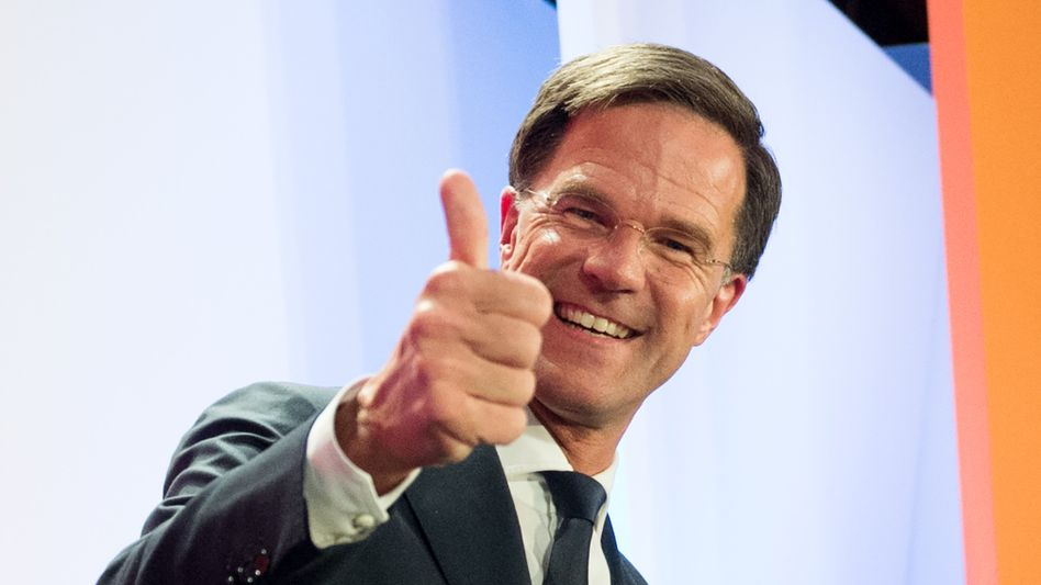 Mark Rutte at his party's election party