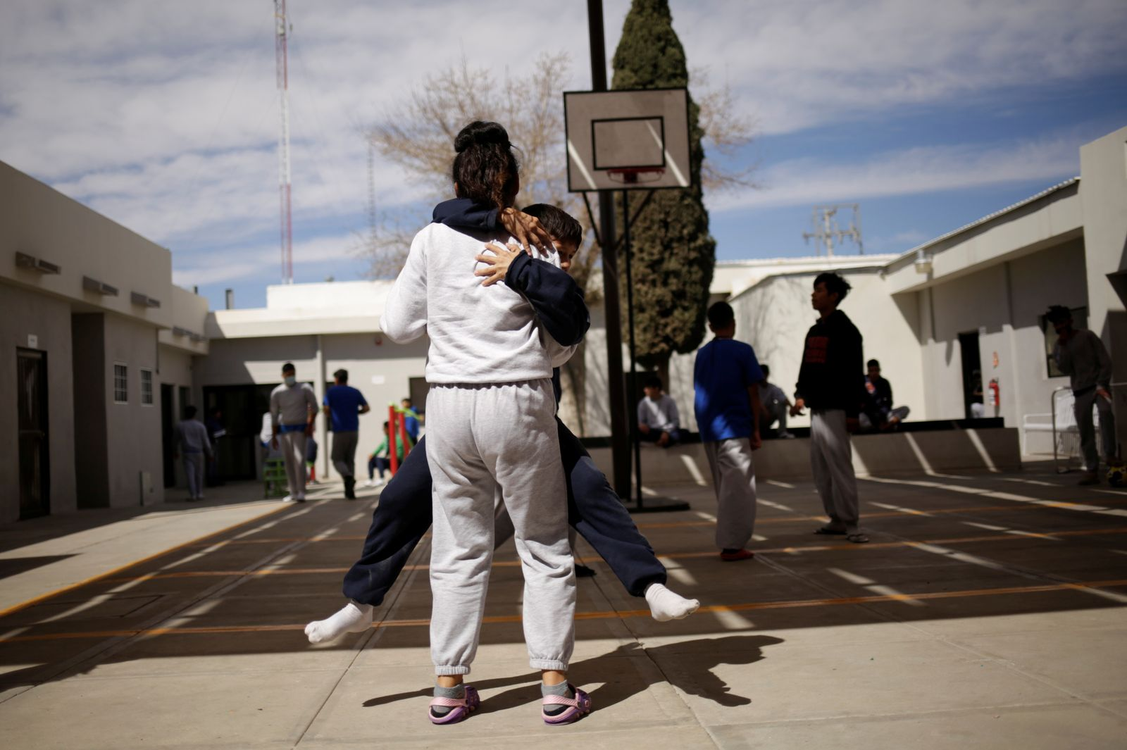 Migrant children from Central America and Mexico play in a recreation area the Noemi Alvarez Quillay immigrant shelter for unaccompanied minors, run by the Mexican government, in Ciudad Juarez