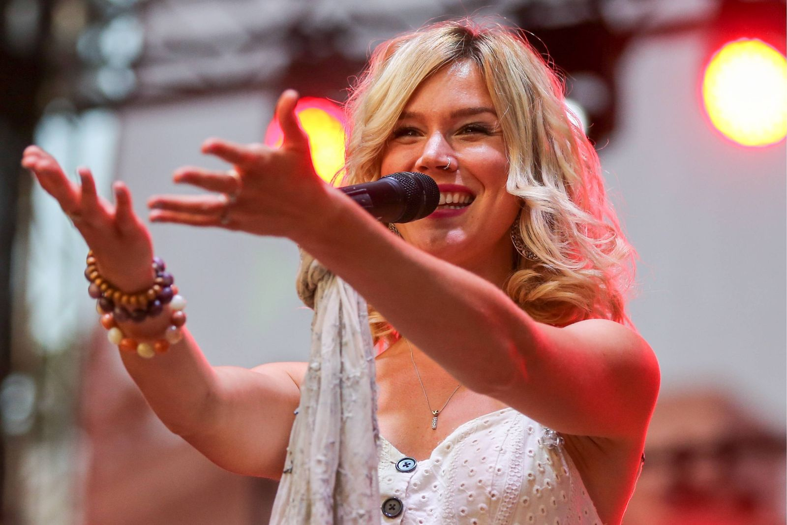 ST PETERSBURG, RUSSIA JULY 28, 2018: English singer Joss Stone performs at the 2018 Usadba Jazz International Open Ai