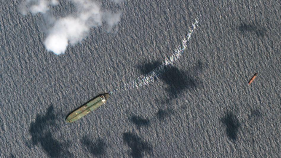 """Öltanker """"Adrian Darya-1"""" auf einem Satellitenbild"""