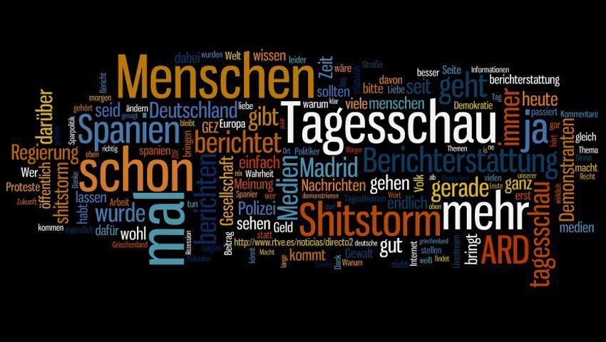 """Wortwolke aus Begriffen aus Facebook-Kommentaren: """"Shitstorm"""" für die """"Tagesschau""""?"""