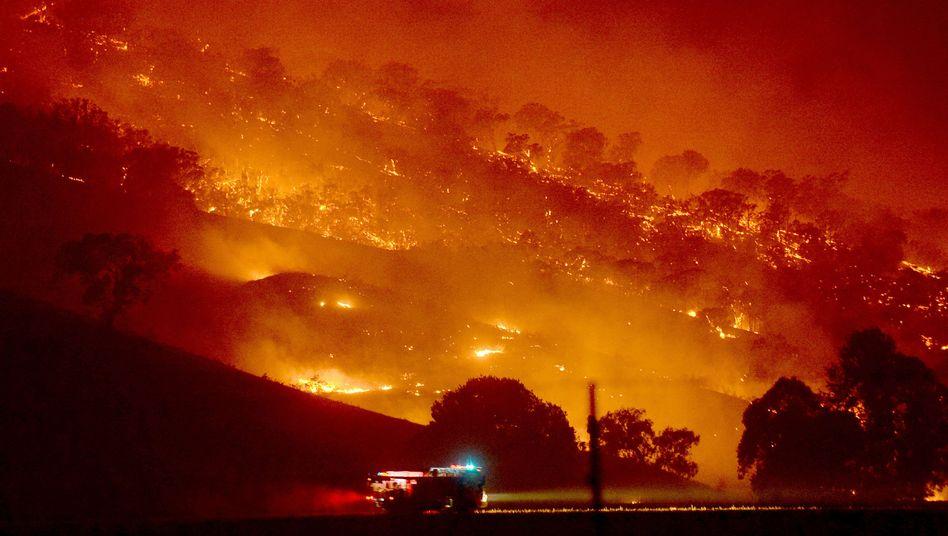 Das massive Dunns Road Fire am Mount Adrah