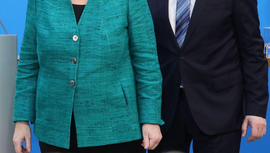 Angela Merkel und Martin Schulz nach den Koalitionsverhandlungen, Februar 2018