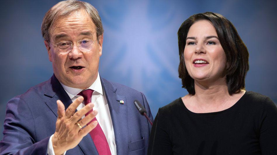 Fast gleichauf in der Gunst der Wählerschaft: Unionskandidat Laschet und Grünenkandidatin Baerbock (Fotomontage)