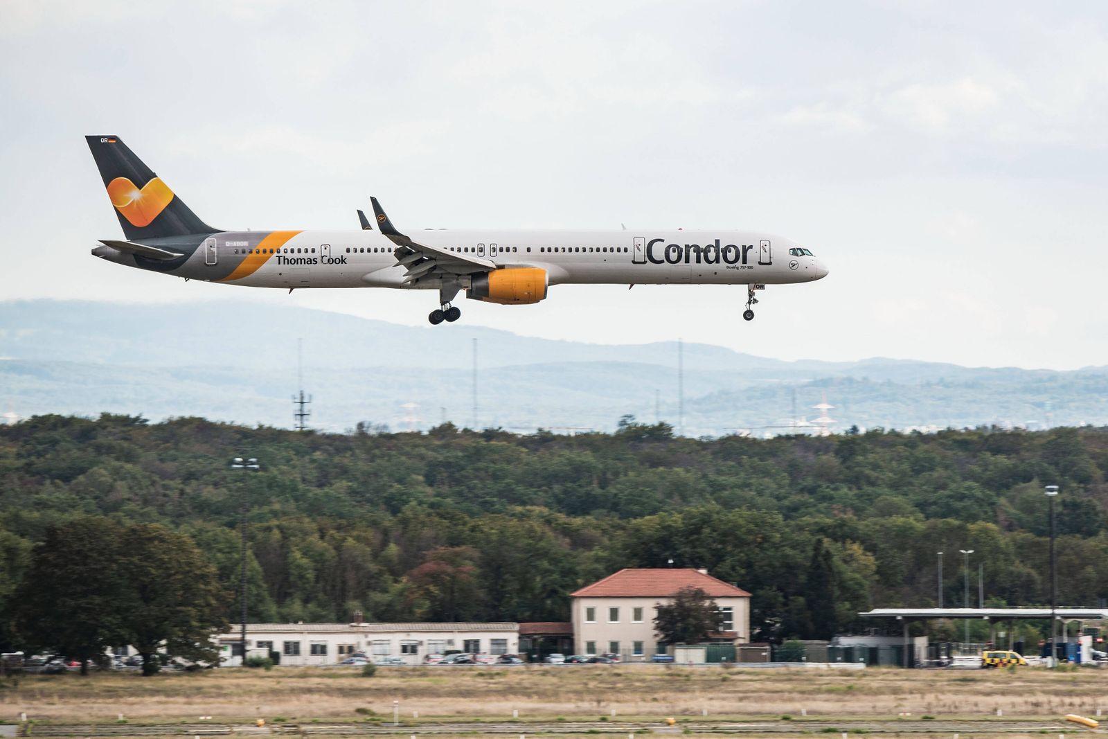 23.09.2019, xfux, Wirtschaft, Reiseveranstalter Thomas Cook meldet Insolvenz an - Tochter Condor am Flughafen Frankfurt