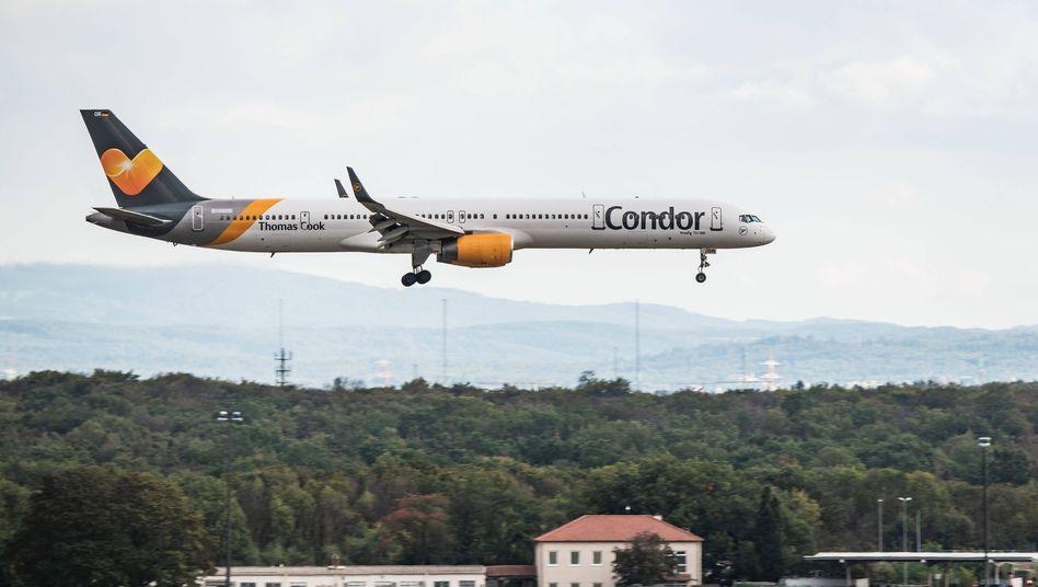 Eine Boeing 757-300 der Fluggesellschaft Condor landet am Frankfurter Flughafen