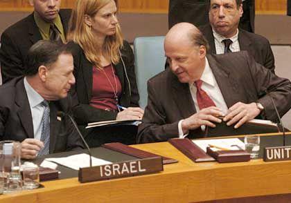 Negroponte (r.) und Gillerman: Einigkeit zwischen USA und Israel