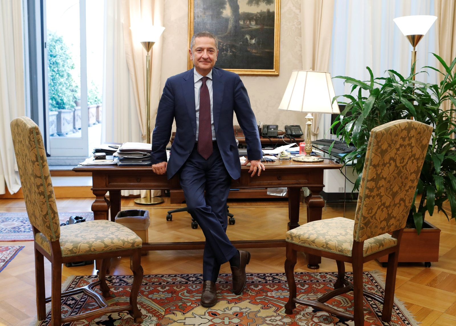 FILE PHOTO: Fabio Panetta is seen in his office ahead of his appointment to the European Central Bank's executive committee