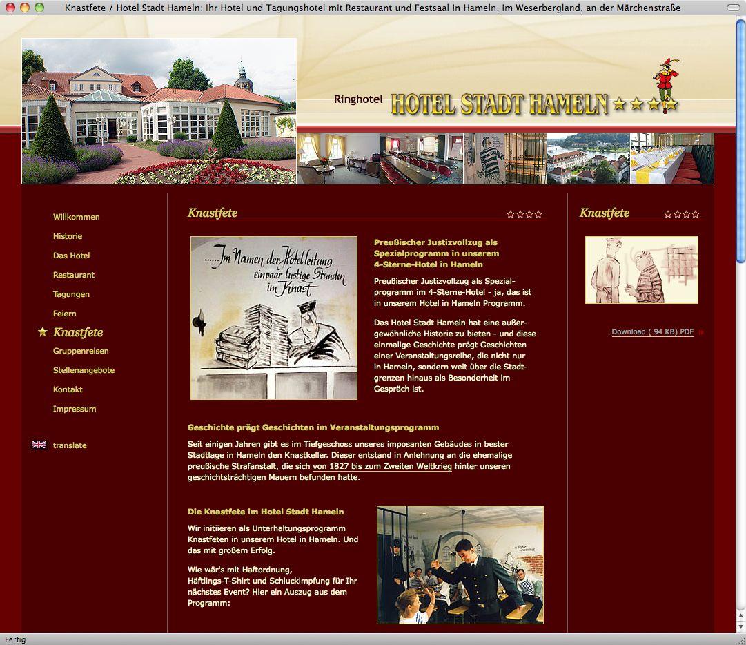 Screenshot/ Hotel Stadt Hameln