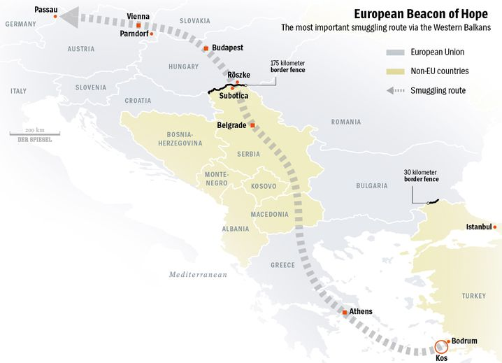 Graphic: The refugee route to Europe.