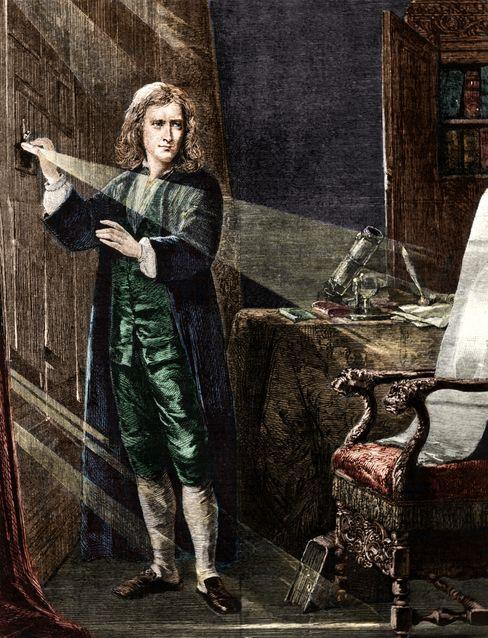 Isaac Newton bei einem Licht-Experiment