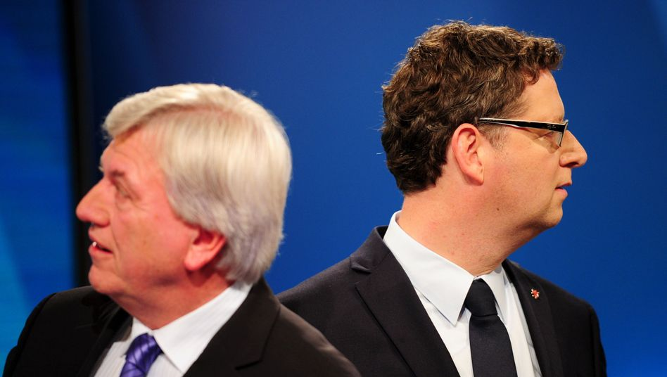 Hesse's Christian Democrat governor, Volker Bouffier (left), and his Social Democrat challenger Thorsten Schäfer-Gümbel, don't like each other much.