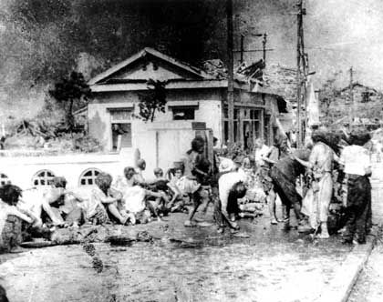 Survivors in a destroyed Hiroshima.